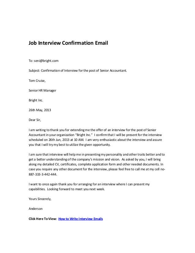 Interview Confirmation Email From Employer