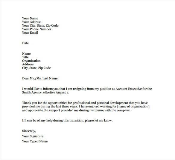 resignation letter doc