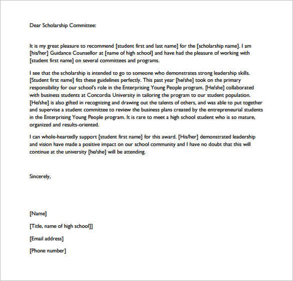 Letter Of Recommendation For Scholarship From Coach