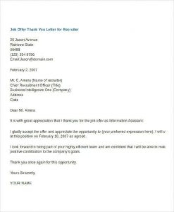 Thank You Letter For Job Offer Accepted