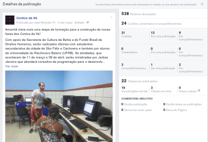 Post sobre Oficina ministrada por Jarbas