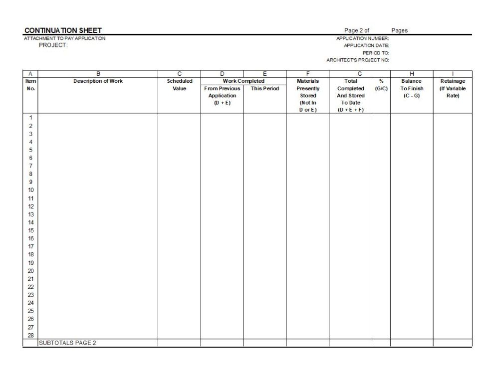 g703 form AIA G702 Application for Payment and G703 Continuation Sheet - Excel