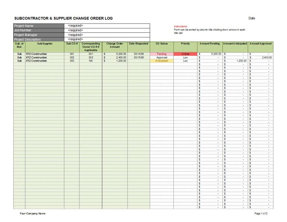 A change management log tracks who requested what change and when, the status of the change request, its priority,. Change Order Excel Template Bicim