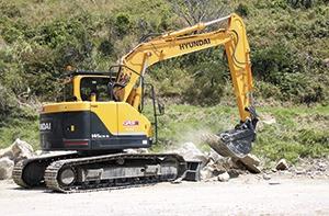 The 14-tonne Robex R145CR-9 excavator at Whangawehi at work on the Mahia East Coast Road, Mahia Peninsula.