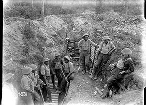 Members of the World War I Maori Pioneer Battalion taking a break from trench improvement work, near Gommecourt, France.