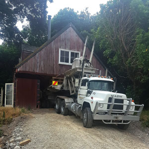Relocation of an old farm building from a bush site at Otaki.