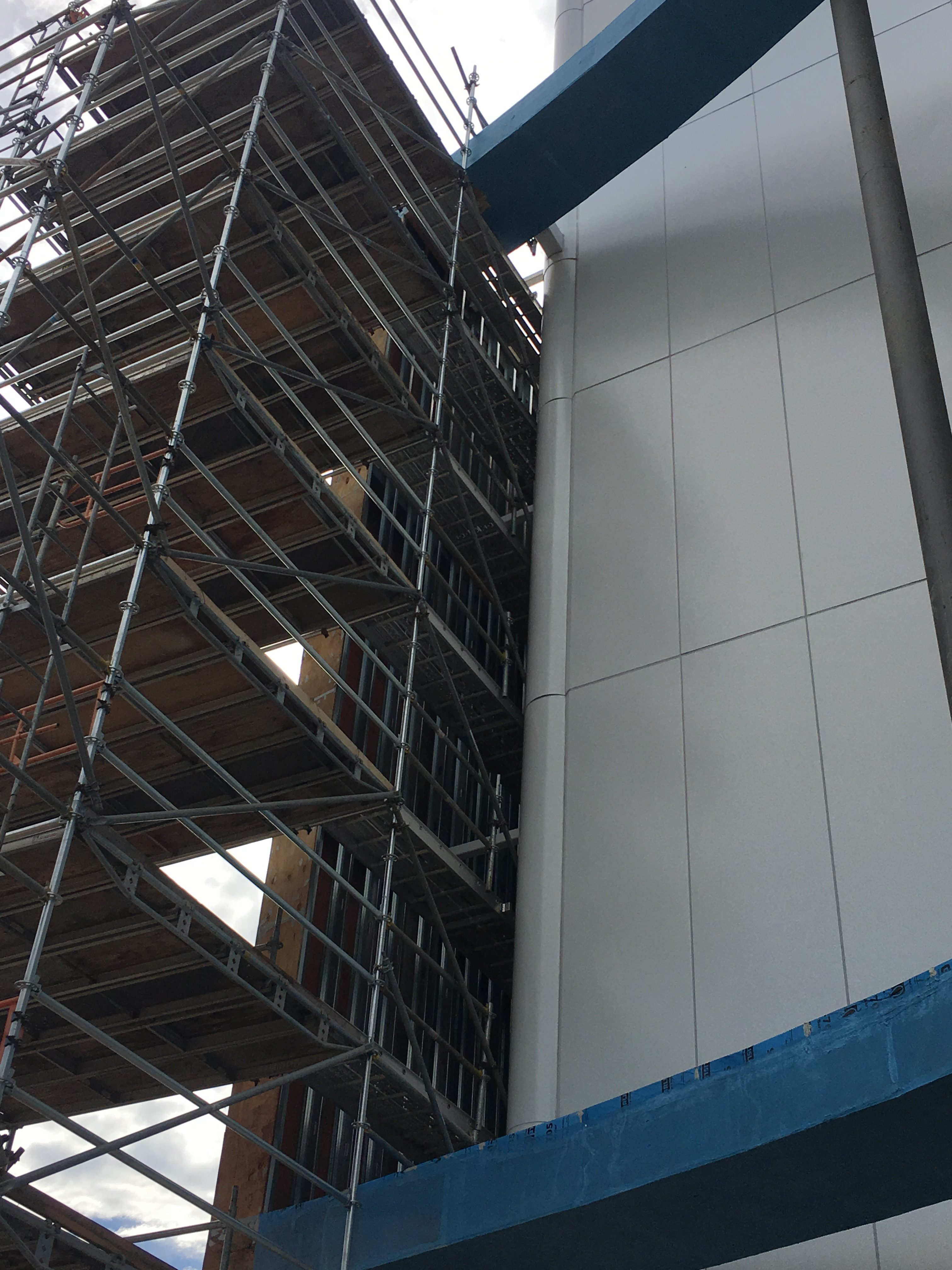 AmFirst Bank sign scaffold