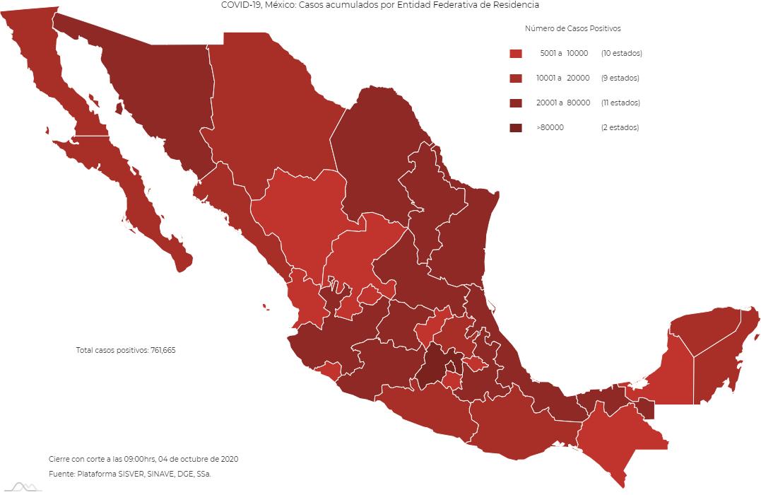 mapa con casos Covid-19 por estado