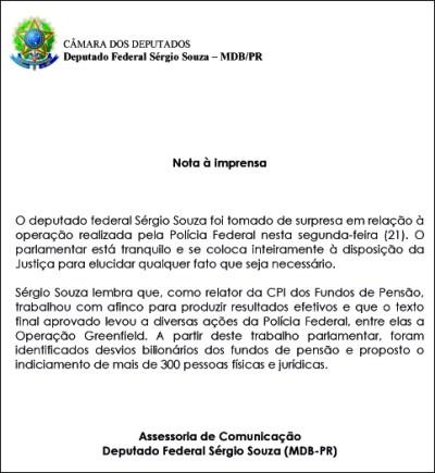 Sérgio Souza se diz surpreso com investigação