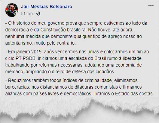 Bolsonaro nega autoritarismo, defende democracia, condena abusos e promete
