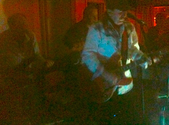 L to R: Bassist Fred Lavery, guitarist Dave McKeough, and old time rocker Matt Mainglewood, testign the limits of the iPhone's flashless camera.