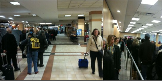 Left: Stanfield International Airport 7 a.m., October 15. The security queue extends past the Clearwater Seafoods kiosk to the Air Canada check-in counter. Right: Half and hour later, inside the CATSA security zone.