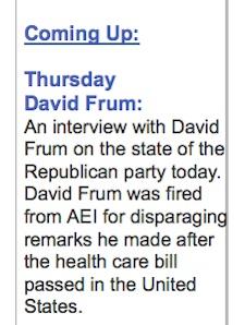 Frum CBC no show