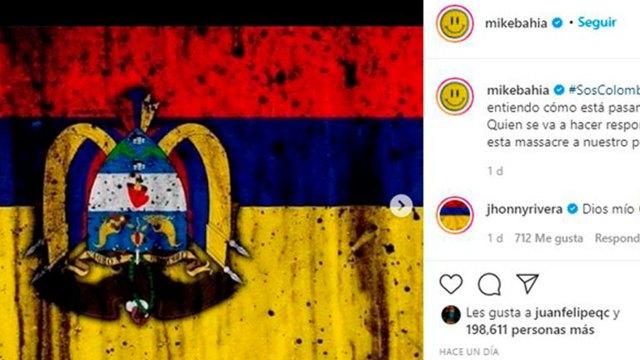 Post en Instagram de Mike Bahía. Foto: Instagram @mikebahia