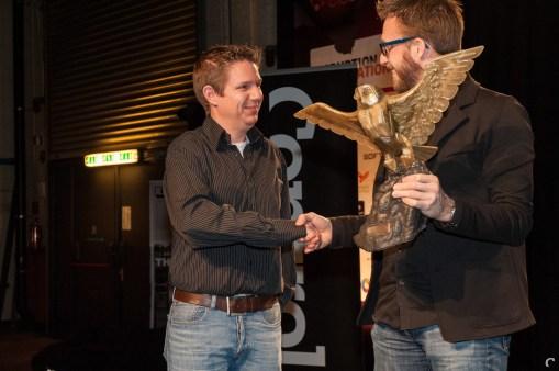 Xform'ers Diederik Groesbeek en Pieter Albers feliciteren elkaar