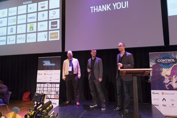 De organisatoren: Roger te Heide (ImproVive), Eric Bartelson en Matthijs Dierckx (Control Magazine)