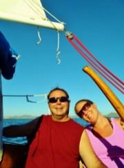 Dave and Samantha enjoying the sun and sail