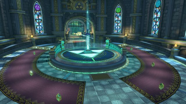 When going through Hyrule Castle, the track splits around the Master Sword.
