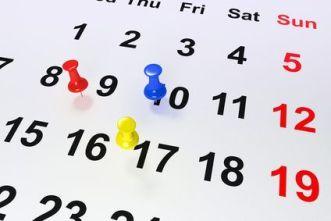 Calendario con señalizadores de día