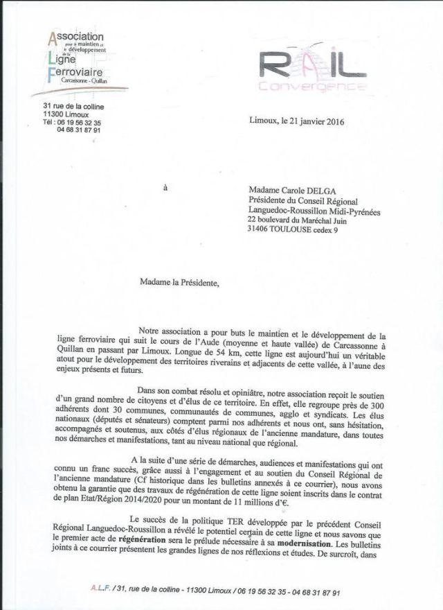 Le courrier de l'ALF à la Région Languedoc-Roussilon Midi-Pyrénées