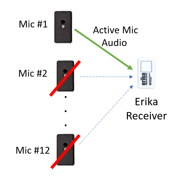 Dynamic Switching with an Erika wireless microphone system