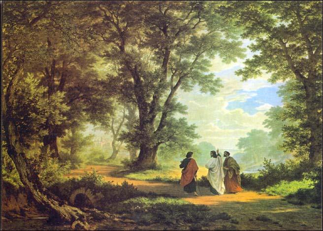 Gang nach Emmaus, Gemälde von Robert Zünd, 1877, 119 x 158 cm, Kunstmuseum St. Gallen