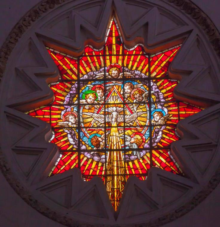 star-shaped Stained Glass window