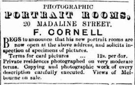 Cornell Hope Inn photographer advert 17 Feb 1866