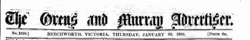 Ovens & Murray Advertiser Jan 1863