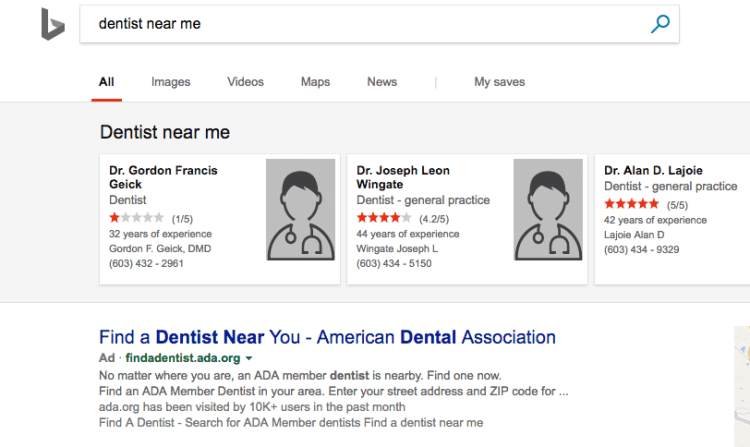 bing dentist near me