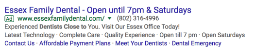 Essex Family Dental - Ad 2