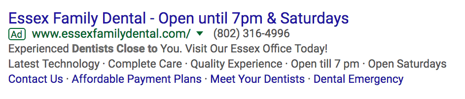 Essex Family Dental - Ad 2