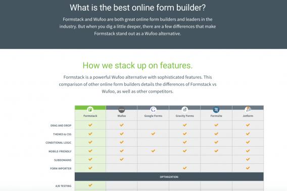 Formstack Comparison Landing Page