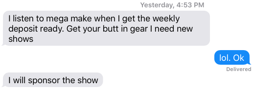 Text message from a listener