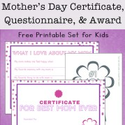 Mother's Day questionnaire, certificate and badge
