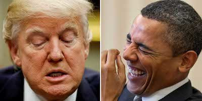 obama laughing at trump