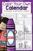 Color your own calendar 2018