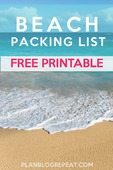 Beach packing list free printable