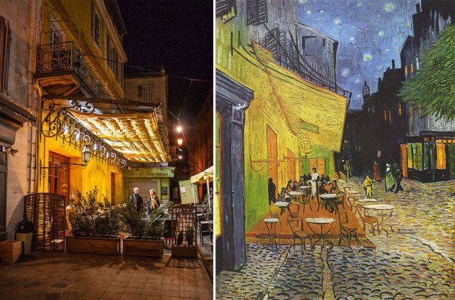 Café Van Gogh, Arles, France in 2007 (left), and Van Gogh's painting 'Café Terrace at Night', 1888.