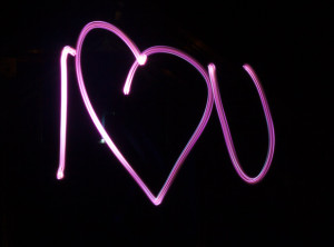 """I love u"" light painting, I used a dry erase marker to colour in the torch lens"