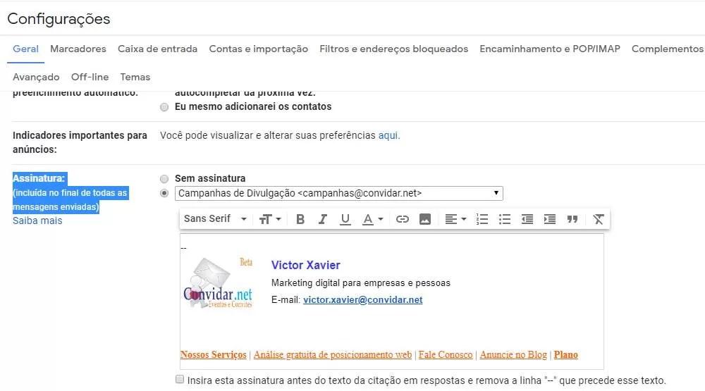 configurações de assinatura de e-mail Gmail