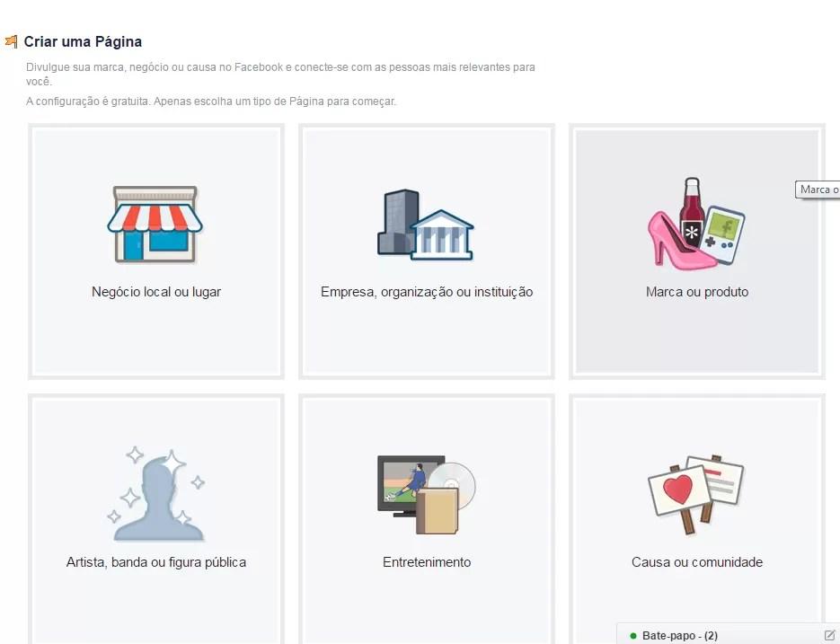 Criar uma página no Facebook para empresas - Tipo de página.