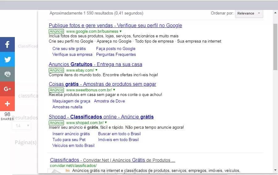 Como seus anúncios são mostrados nos resultados de buscas