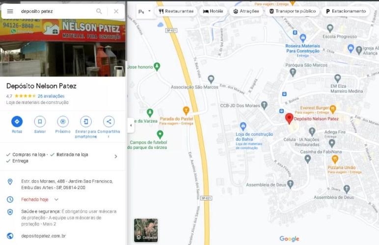 posição de classificação no Google Maps depósito patez