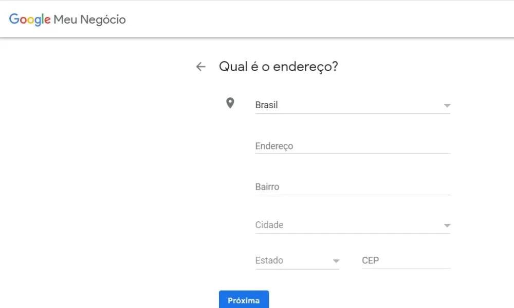 Como anunciar grátis no Google cadastro-endereco