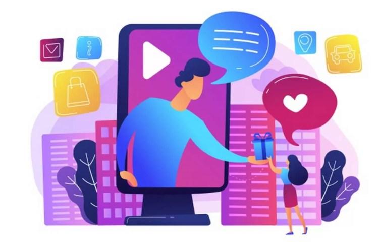 Publicidade Online x Offline anuncios-de-midia-social-campanha-promocional-de-brindes-publicidade-interativa-analise-de-engajamento-de-clientes-conceito-de-servicos-de-marketing-