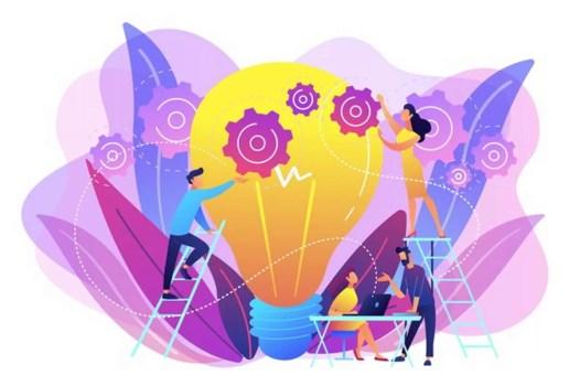 Conceito Criativo equipe-de-negocios-colocando-engrenagens-em-uma-lampada-grande-engenharia-de-novas-ideias-inovacao-do-modelo-de-negocios