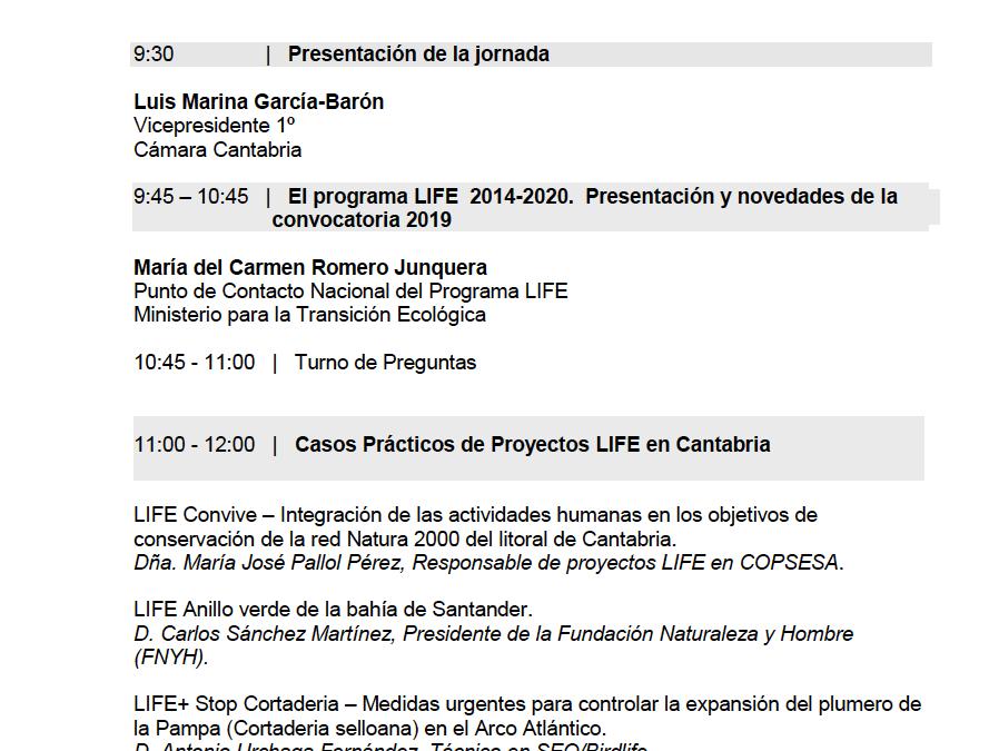 """(Español) Presentamos el proyecto CONVIVE LIFE y sus principales actuaciones en la """"Jornada Informativa sobre la convocatoria LIFE 2019"""" organizada por la Cámara de Comercio de Cantabria"""