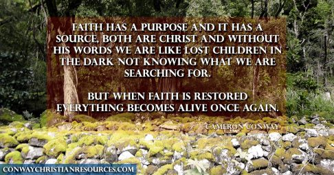 Faith has a purpose and it has a source, both are Christ and without His words we are like lost children in the dark not knowing what we are searching for. But when faith is restored everything becomes alive once again.