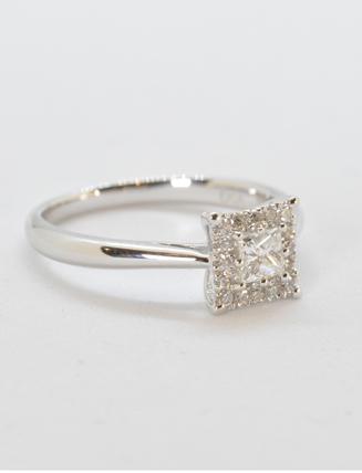 9k White Gold Diamond Engagement Ring .37 carat